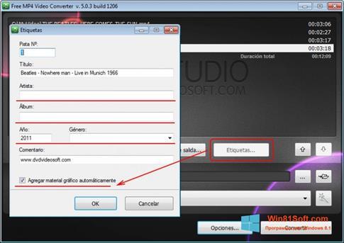 Скриншот программы Free MP4 Video Converter для Windows 8.1