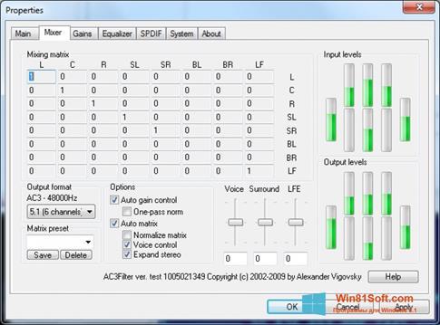 Скриншот программы AC3Filter для Windows 8.1