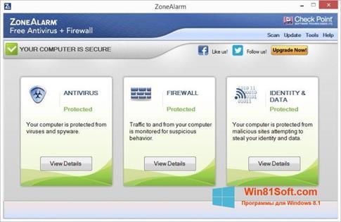 Скриншот программы ZoneAlarm для Windows 8.1