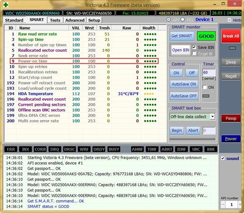 Скриншот программы Victoria для Windows 8.1