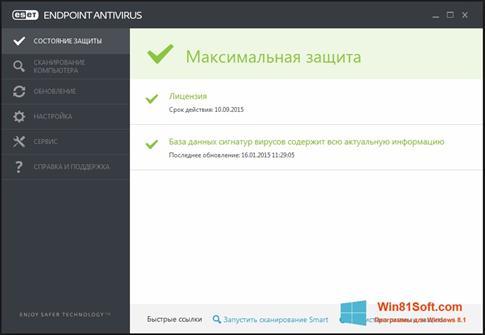 Скриншот программы ESET Endpoint Antivirus для Windows 8.1
