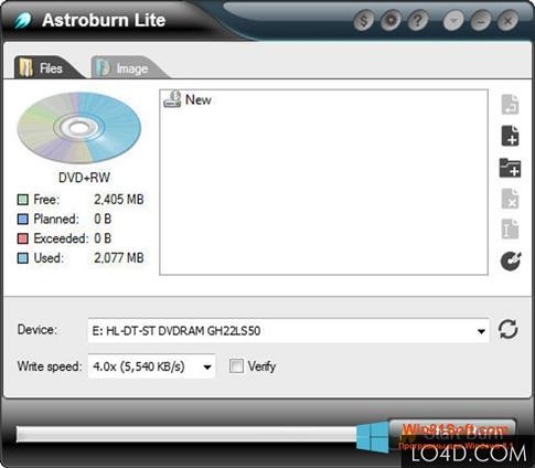 Скриншот программы Astroburn Lite для Windows 8.1