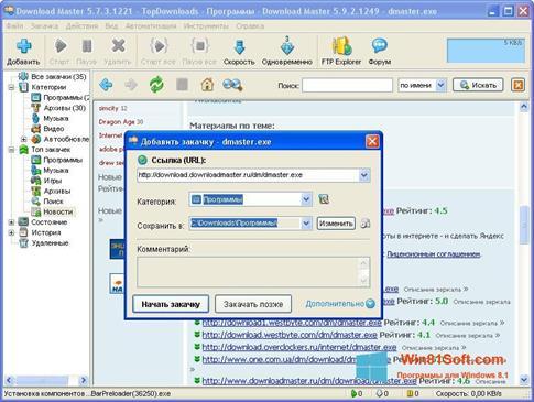 Скриншот программы Download Master для Windows 8.1