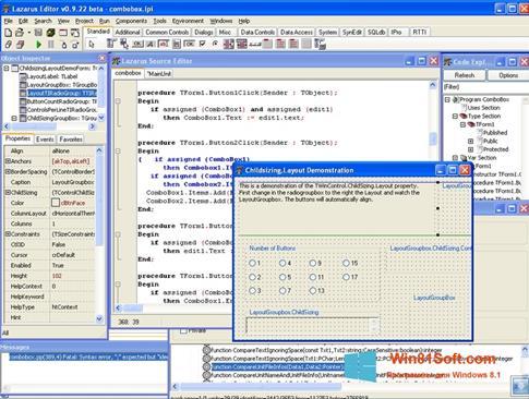 Скриншот программы Lazarus для Windows 8.1