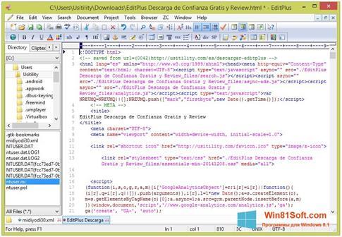 Скриншот программы EditPlus для Windows 8.1