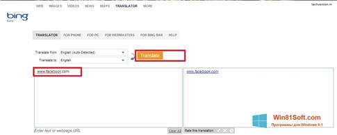 Скриншот программы Bing Translator для Windows 8.1