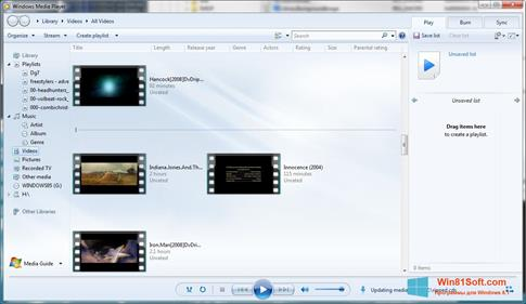 Скриншот программы Media Player для Windows 8.1
