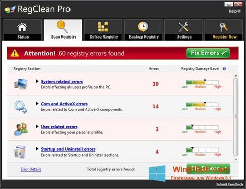 Скриншот программы RegClean Pro для Windows 8.1