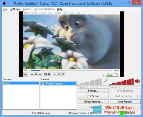 Скриншот программы Open Broadcaster Software для Windows 8.1