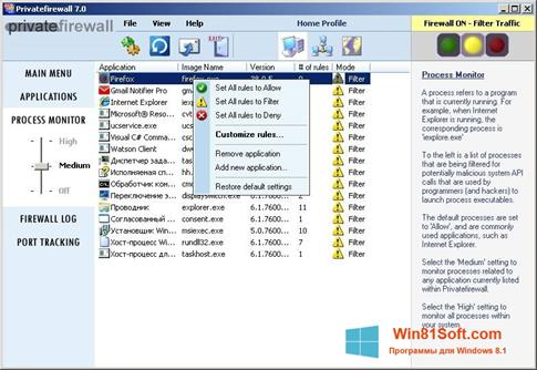 Скриншот программы Privatefirewall для Windows 8.1