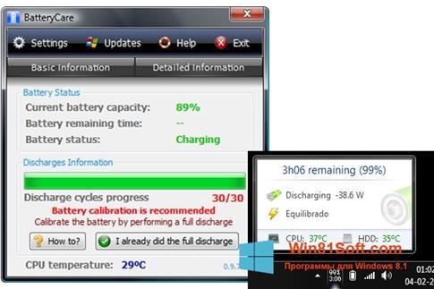 Скриншот программы BatteryCare для Windows 8.1