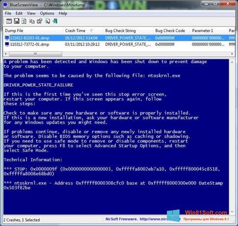Скриншот программы BlueScreenView для Windows 8.1