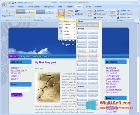 Скриншот программы Artisteer для Windows 8.1