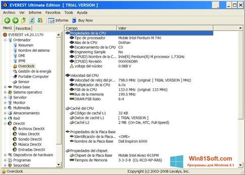 Скриншот программы EVEREST Ultimate Edition для Windows 8.1