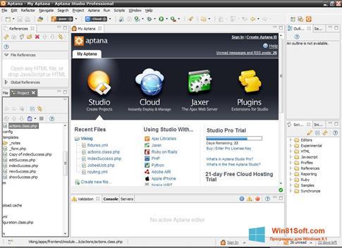 Скриншот программы Aptana Studio для Windows 8.1