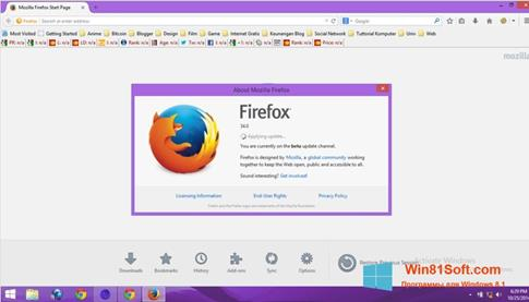Скриншот программы Mozilla Firefox Offline Installer для Windows 8.1