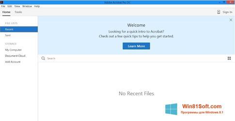 Скриншот программы Adobe Acrobat Pro DC для Windows 8.1