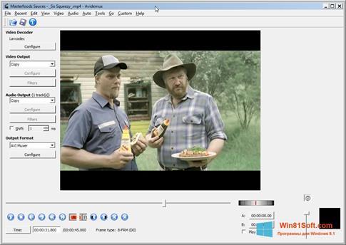 Скриншот программы Avidemux для Windows 8.1