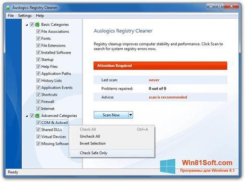 Скриншот программы Auslogics Registry Cleaner для Windows 8.1