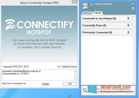 Скриншот программы Connectify Pro для Windows 8.1