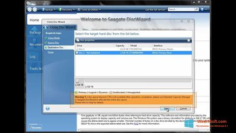 Скриншот программы Seagate DiscWizard для Windows 8.1