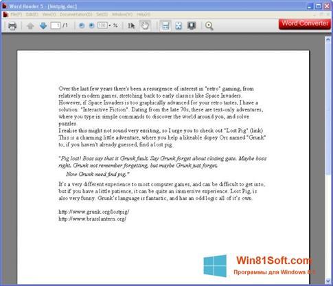 Скриншот программы Word Reader для Windows 8.1