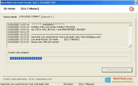 Скриншот программы HDD Low Level Format Tool для Windows 8.1