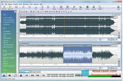 Скриншот программы WavePad Sound Editor для Windows 8.1