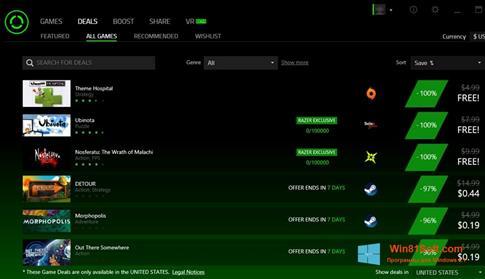 Скриншот программы Razer Cortex для Windows 8.1