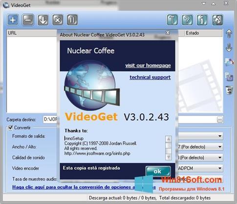 Скриншот программы VideoGet для Windows 8.1