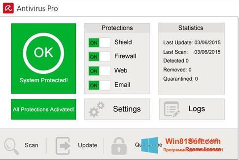 Скриншот программы Avira Antivirus Pro для Windows 8.1