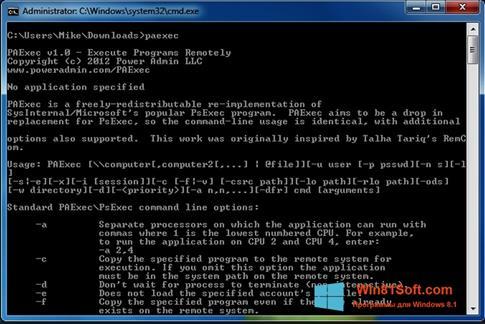 Скриншот программы PsExec для Windows 8.1