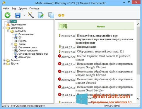 Скриншот программы Multi Password Recovery для Windows 8.1