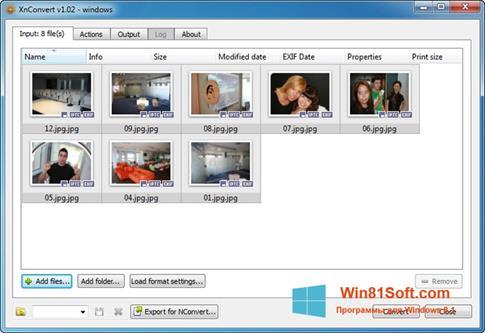 Скриншот программы XnConvert для Windows 8.1