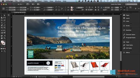 Скриншот программы Adobe InDesign для Windows 8.1