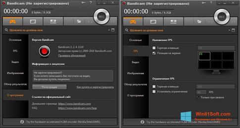 Скриншот программы Bandicam для Windows 8.1