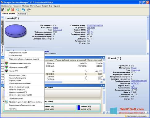 Скриншот программы Paragon Partition Manager для Windows 8.1