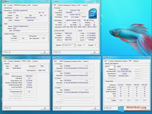 Скриншот программы CPU-Z для Windows 8.1
