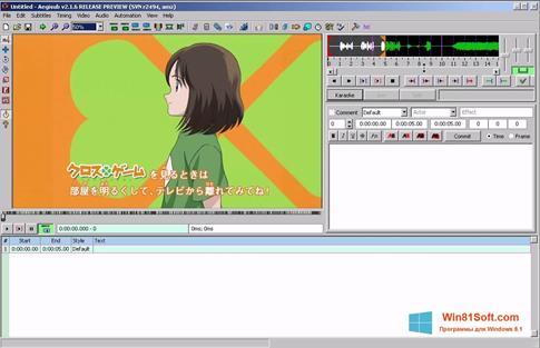 Скриншот программы Aegisub для Windows 8.1