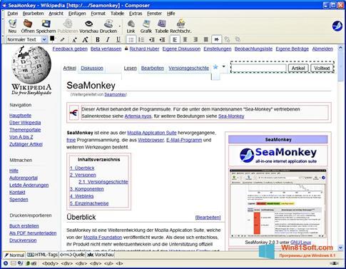 Скриншот программы SeaMonkey для Windows 8.1