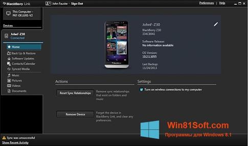 Скриншот программы BlackBerry Link для Windows 8.1