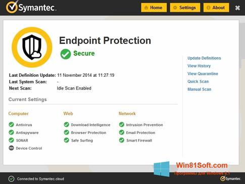 Скриншот программы Symantec Endpoint Protection для Windows 8.1