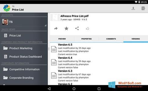 Скриншот программы Alfresco для Windows 8.1