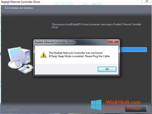 Скриншот программы Realtek Ethernet Controller Driver для Windows 8.1