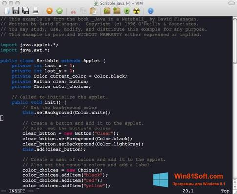 Скриншот программы Vim для Windows 8.1