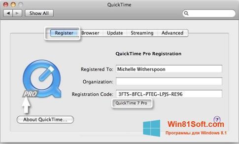 Скриншот программы QuickTime Pro для Windows 8.1