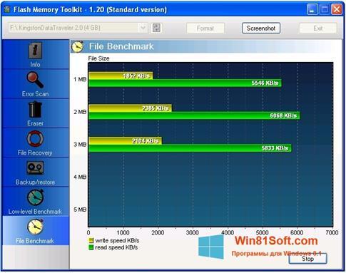 Скриншот программы Flash Memory Toolkit для Windows 8.1