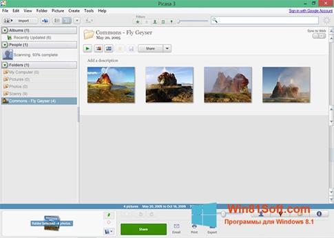 Скриншот программы Picasa для Windows 8.1