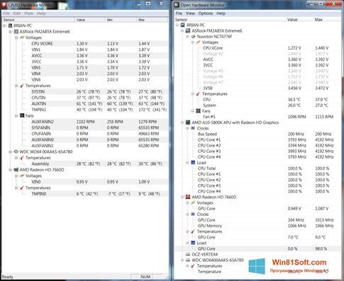 Скриншот программы Open Hardware Monitor для Windows 8.1