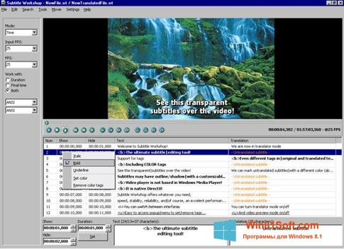 Скриншот программы Subtitle Workshop для Windows 8.1